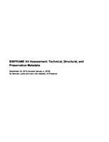 BIBFRAME AV Assessment: Technical, Structural, and Preservation Metadata