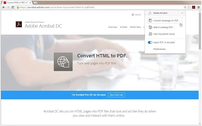 Adobe Acrobat browser extension