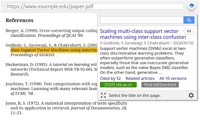 Google Scholar Button browser extension