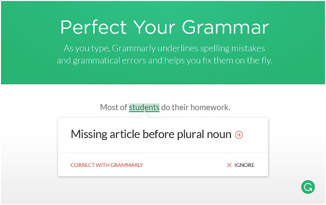Grammarly for Chrome browser extension