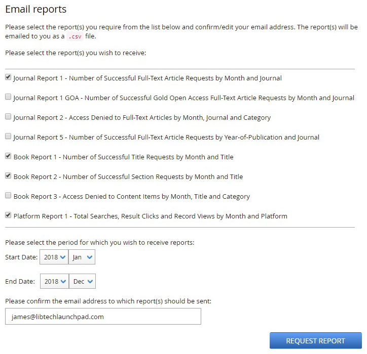 COUNTER Report Request Screen