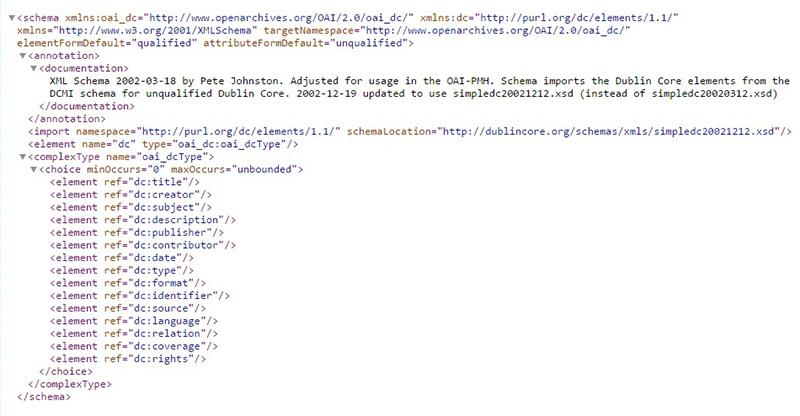 OAI-DC (Dublin Core) metadata schema