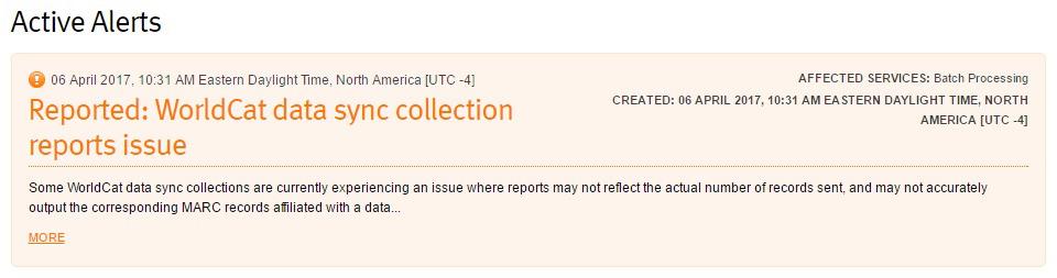OCLC System Alerts