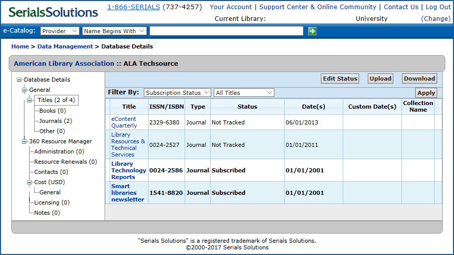 Serials Solutions e-Catalog Titles