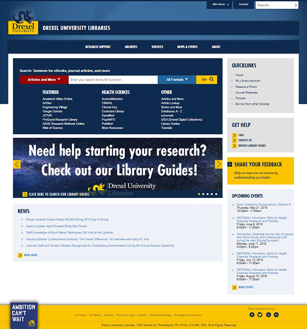 Drexel University Libraries Website
