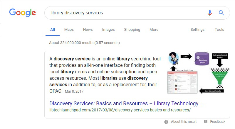 Google Feature Snippet for library discovery services