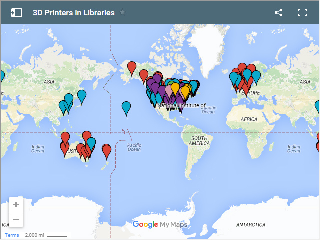 Map of 3D Printers in Libraries